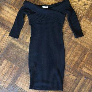 Zara light weight off shoulder black sweater dress